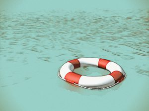 Life saver floating in the water