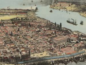 Old illustration of Havana, Cuba