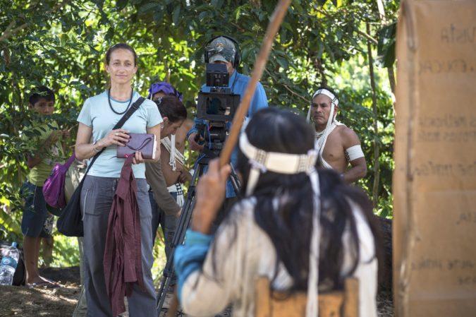 Celine Cousteau filming Amazon tribe