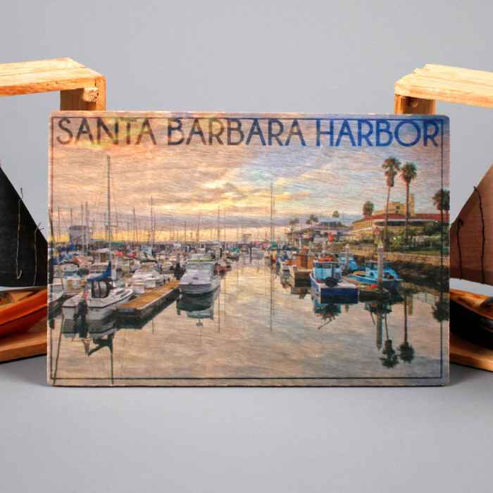 SB Harbor Wooden Postcard
